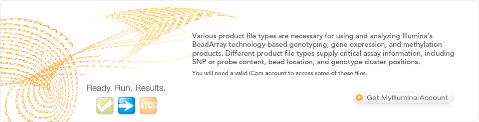 Illumina offers several different types of product data files for our Bead Array technology-based genotyping, gene expression, and methylation assays. Available for standard and some custom arrays, these files supply information on SNP or probe content, as well as bead location and cluster position. You will need a valid iCom account to access some of these files.